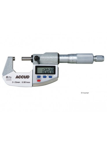 Accud 25mm Coolant Proof Dual Scale Digital Micrometer