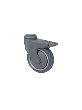 Medical Series Grey Rubber Bolt Hole Wheel 100mm
