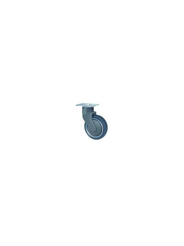 Medical Series Grey Rubber Bolt Hole Wheel 100mm