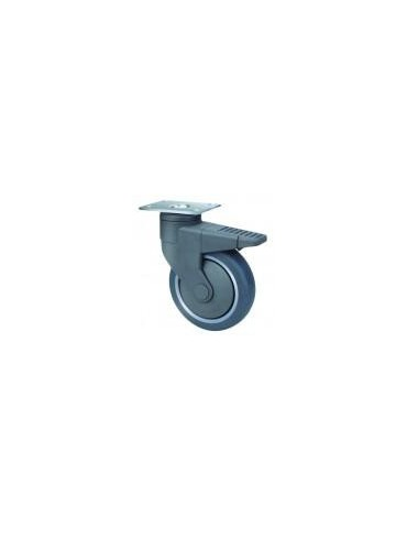 Medical Series Grey Rubber Swivel and Brake Wheel 100mm